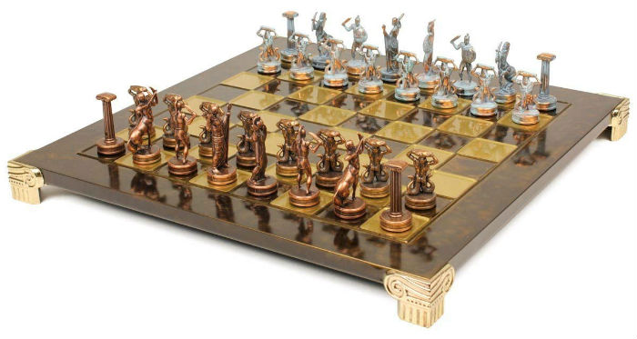 Giants Battle Theme Chess Set by Manopoulos on a Chessboard
