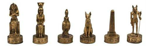Gold and Silver Egyptian Chess Set Pieces