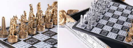 Gold and Silver Egyptian Chess Set