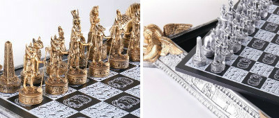 "21"" Deluxe Egyptian Chess Set with Storage Chess Board"