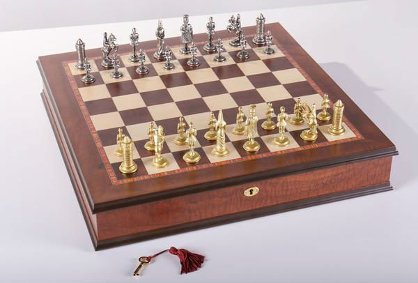 Gothic Chess Set with Cabinet Storage Board