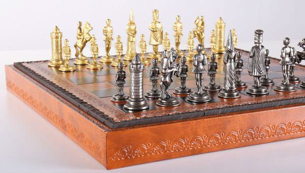 The Gothic Chess Set with an elegant leatherette storage chess board