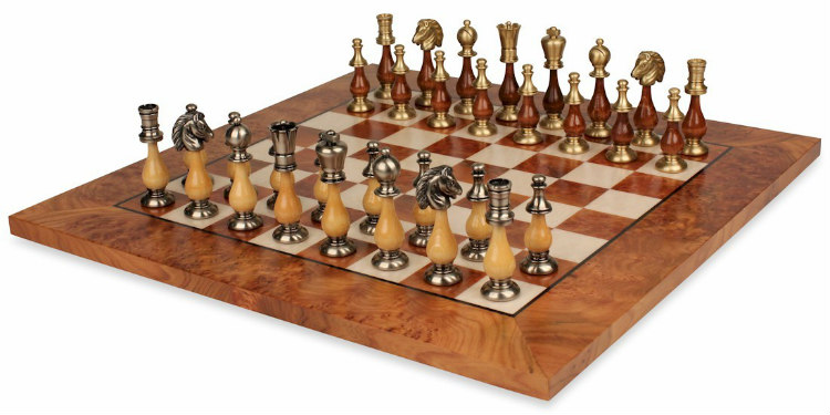 Grande Persian Staunton Brass & Wood Chess Set with Elm Root Board