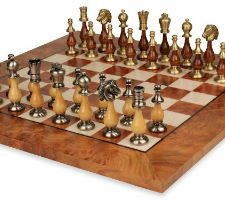 Grande Persian Staunton Brass & Wood Chess Set