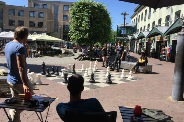 Giant chess set outside the Max Euwe museum, Amsterdam
