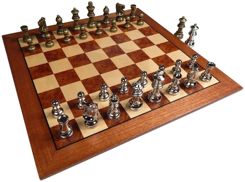 Hayes Inlaid Maple, Mahogany, and Sapele Wooden Chess Board with Metal Chess Pieces