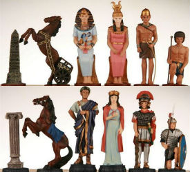 Heavy Pewter Egyptian Pieces with 4″ King