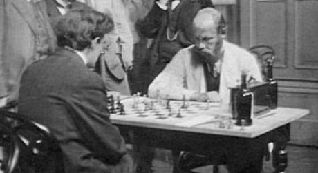 Frank Marshall playing against Stepan Levitsky