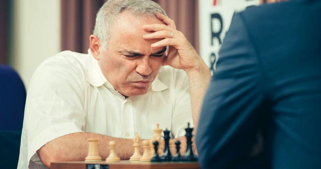 Garry Kasparov Playing A Chess Game