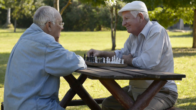 2 Seniors Playing Chess