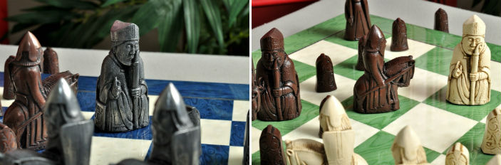 "The Isle of Lewis Chess Pieces - 3.5"" King Metal & Brown/Natural Versions"
