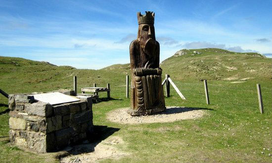 Giant replica chessman near Uig beach, The Isle of Lewis.
