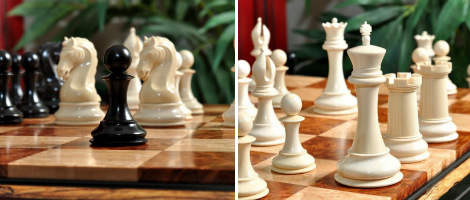 The Mammoth Ivory & Genuine Ebony Collector Series Luxury Chess Set