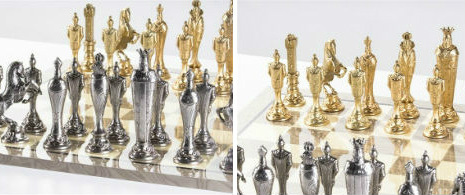 Large Metal Renaissance Chess Set