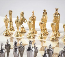 The Large Metal Renaissance Chess Set On Grey Gloss Board