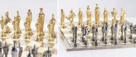 The Large Metal Renaissance Chess Set