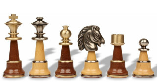 Large Persian Staunton Chess Set in Metal & Wood