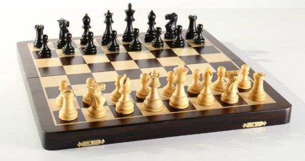 "The Large 15 3/4"" Folding Magnetic Rosewood/Maple Chess Set in Leatherette Case"