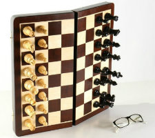 "The Large 15 3/4"" Folding Magnetic Rosewood/Maple Chess Set"