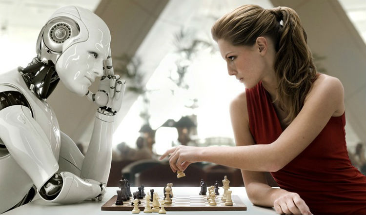 A Chess Game Between A Women & A Robot