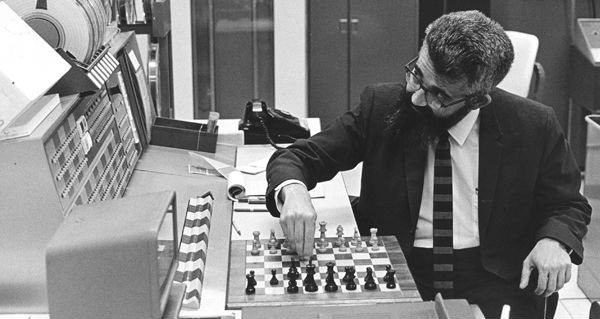 John McCarthy playing chess against computer
