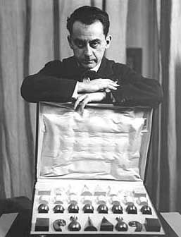Man Ray and his chess set