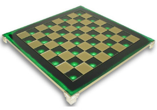 Brass & Green Chess Board