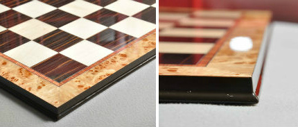 Maple Burl Ebony Superior Traditional Chess Board