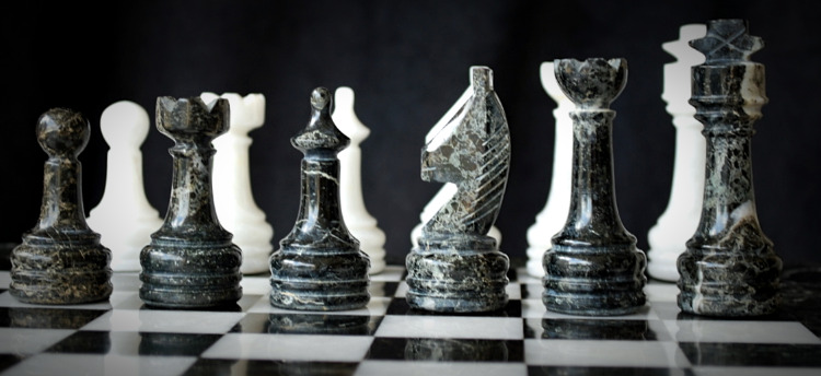 Black White Stone Chess Set