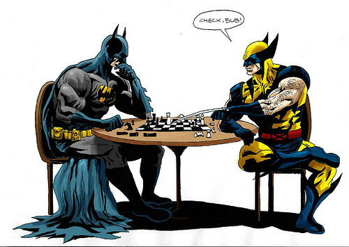 Batman and Wolverine Playing Chess