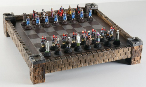 Medieval Metal Crusades Chess Set and Board