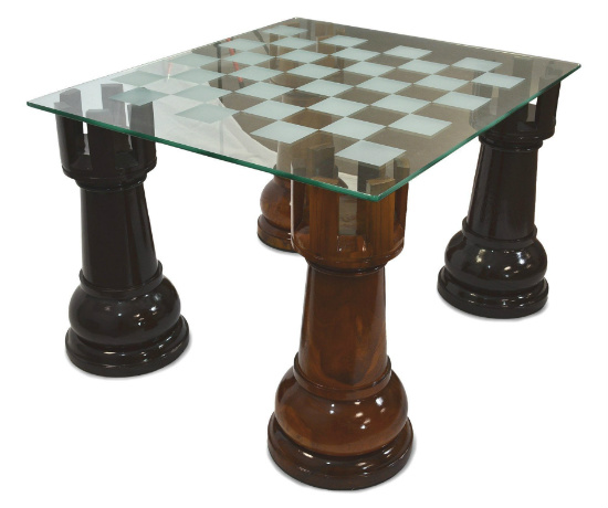MegaChess 36 Inch Etched Glass Giant Chess Table - Rooks