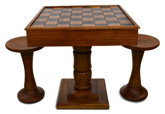 MegaChess Teak Giant Chess Table & Chairs With 4 Inch Squares