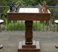 MegaChess Teak Giant Chess Table With 4 Inch Squares