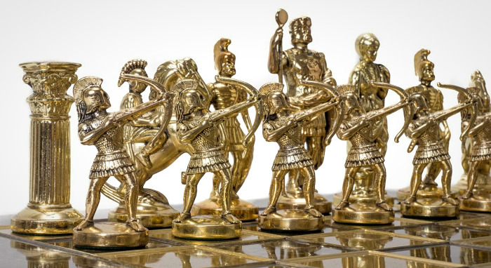A Golden Metal Chess Set - Archers As Pawns