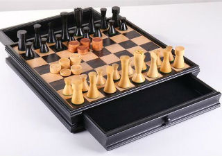 Modern Chess & Checkers Set with Storage - 15 ""