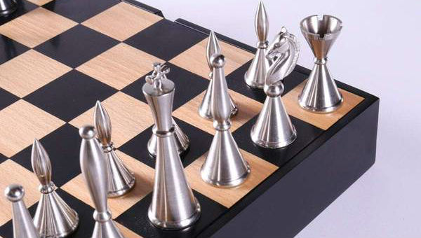 Modern Metal Art Deco Chessmen on Storage Chest
