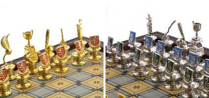 Hogwarts House Quidditch Chess Set Pieces - Gryffindor, Hufflepuff, Ravenclaw & Slytherin