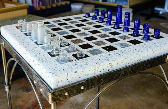Redding Custom Concrete Chess Table With Chess Pieces