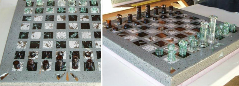 Redding Custom Concrete Chess Table