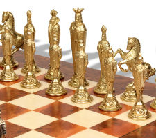 Renaissance Theme Metal Chess Set with Elm Burl Chess Board