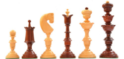 "Reproduced Antique Series Wooden Chess Pieces in Bud Rose & Box Wood - 5.5"" King"