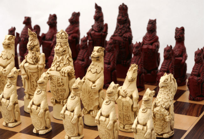 Royal Beasts Chess Pieces by Berkeley - Cardinal Red