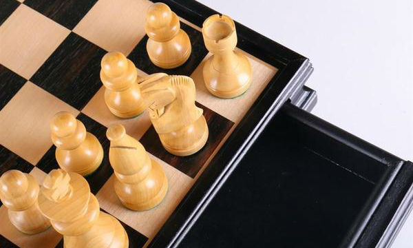 Russian Style Chess & Checkers Set - Black & White