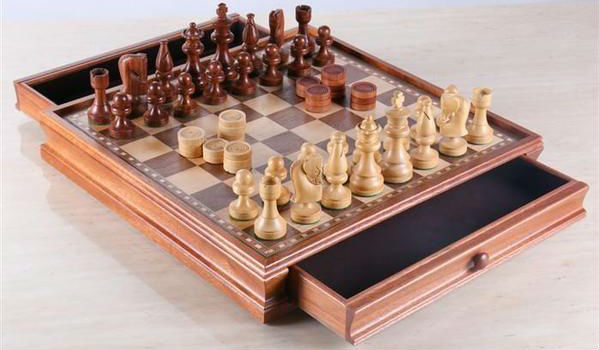 Russian Style Chess & Checkers Set - Brown & White