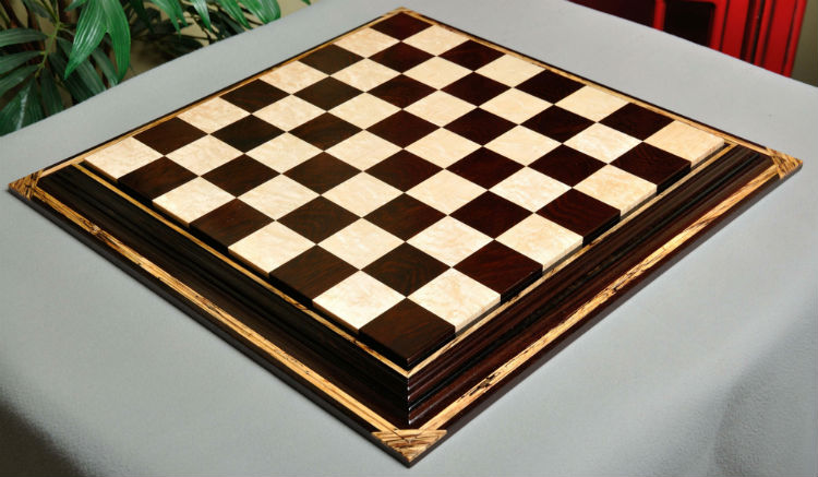 Signature Contemporary Chess Board – African Palisander / Bird's Eye Maple