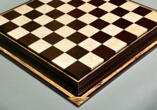 Signature Contemporary Chess Board African Palisander Birds Eye Maple