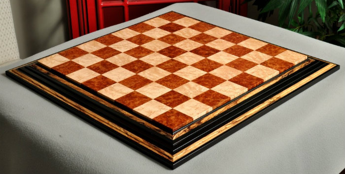 The Signature Contemporary Chess Board – Red Amboyna / Bird's Eye Maple