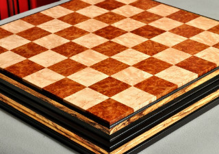 Signature Contemporary Chess Board Red Amboyna Birds Eye
