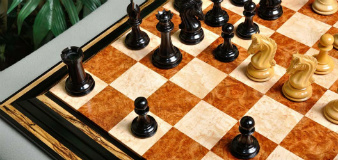Amboyna / Bird's Eye Maple Signature Contemporary Chess Board Set